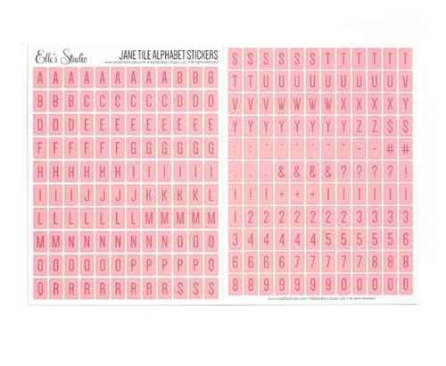 Elle's Studio Jane Tile Alphabet Stickers: Pink