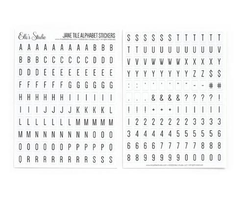 Elle's Studio Jane Tile Alphabet Stickers: White