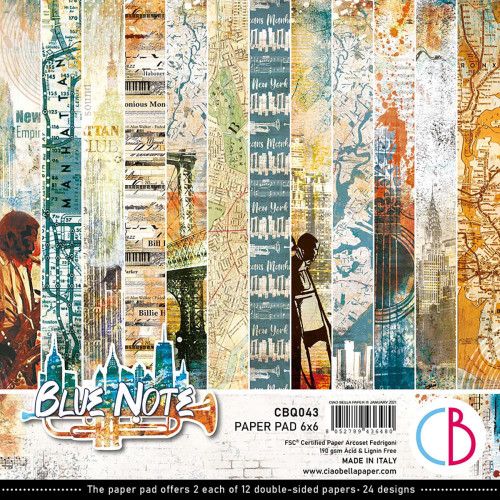 Ciao Bella Papercrafting 6x6 Paper Pad: Blue Note