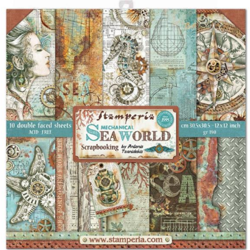 Stamperia 12x12 Paper Pack: Mechanical Sea World