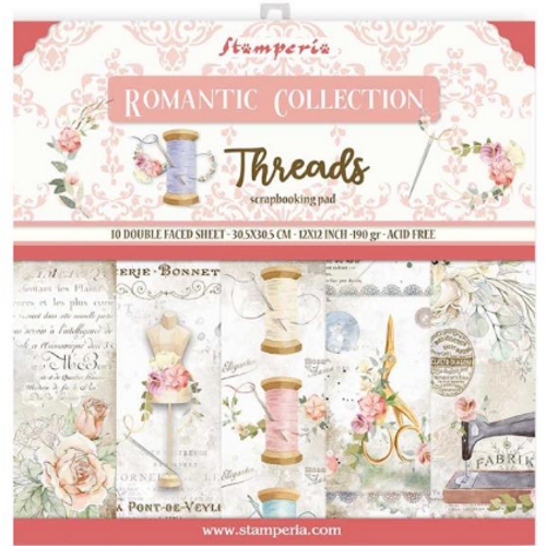 Stamperia 12x12 Paper Pack: Romantic Collection - Threads