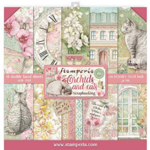 Stamperia 12x12 Paper Pack: Orchids and Cats