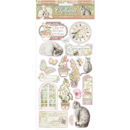 Stamperia Orchids and Cats Chipboard Accents