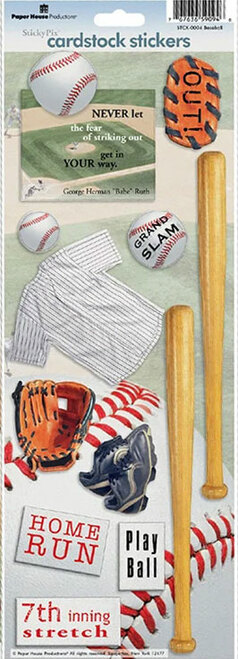 Paper House Cardstock Sticker: Baseball Quote