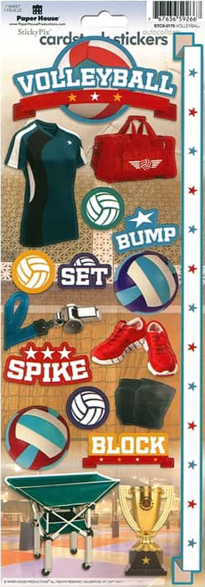 Paper House Cardstock Sticker: Volleyball
