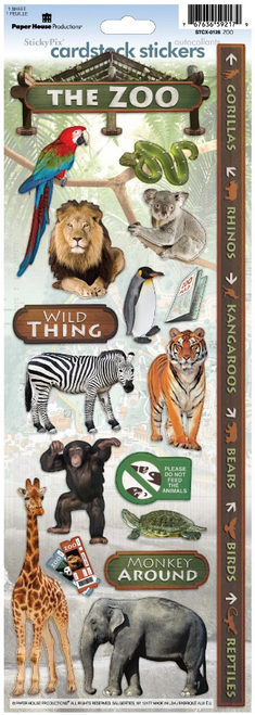 Paper House Cardstock Sticker: The Zoo