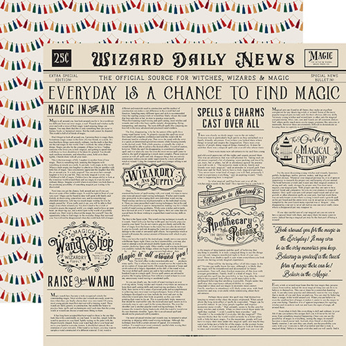 """Echo Park Witches & Wizards """"2"""" 12x12 Paper: Wizards Daily News"""