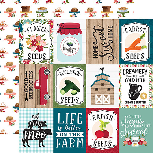 Echo Park Farmer's Market 12x12 Paper: 3X4 Journaling Cards