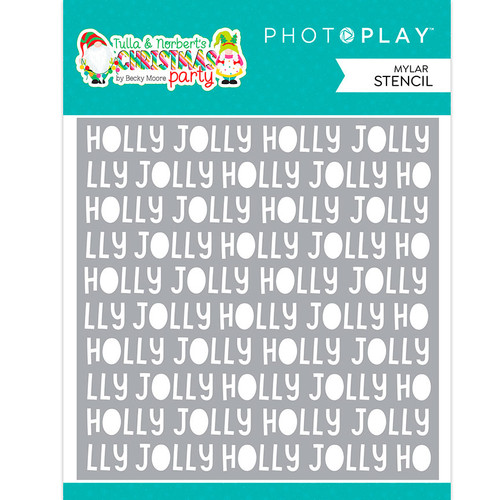 PhotoPlay Tulla & Norbert's Christmas Party 6x6 Stencil: Holly Jolly Word