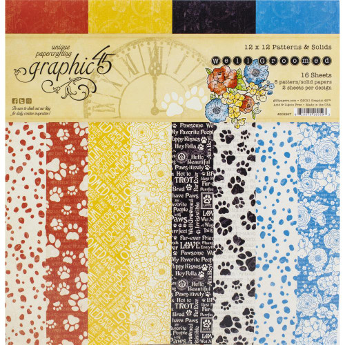 Graphic 45 Well Groomed 12x12 Patterns & Solids Paper Pad