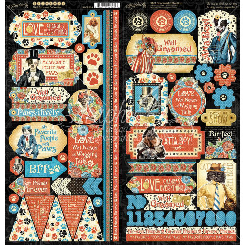 Graphic 45 Well Groomed 6x12 Sticker Sheets (2 unique sheets)