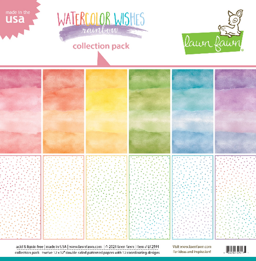 Lawn Fawn 12x12 Collection Pack: Watercolor Wishes Rainbow