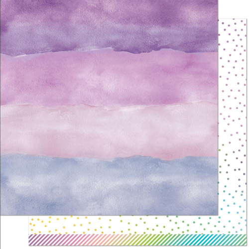 Lawn Fawn Watercolor Wishes Rainbow 12x12 Paper: Amethyst