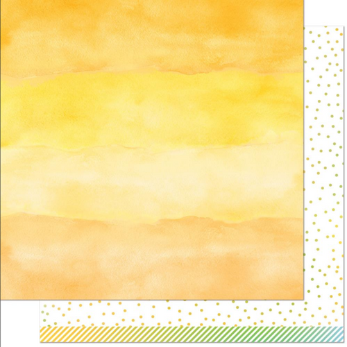 Lawn Fawn Watercolor Wishes Rainbow 12x12 Paper: Citrine