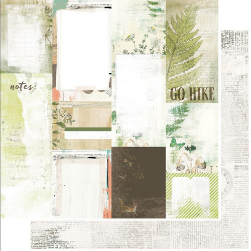 49 and Market Vintage Artistry 12x12 Paper: Hike More | Journal Cards