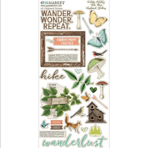 49 and Market Vintage Artistry 6x12 Chipboard Stickers: Hike More
