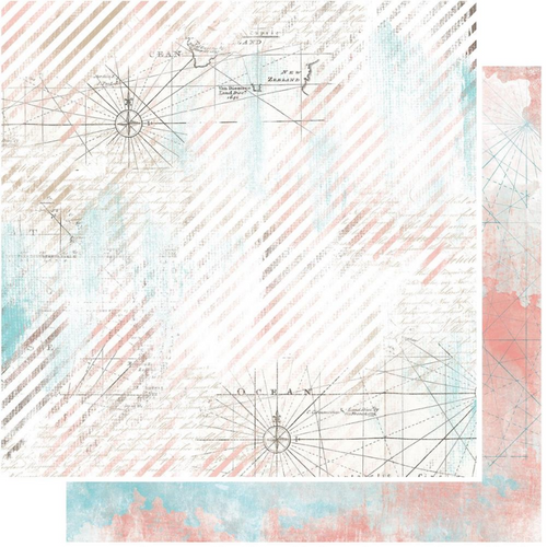 49 and Market Vintage Artistry 12x12 Paper: Beached   Cartography
