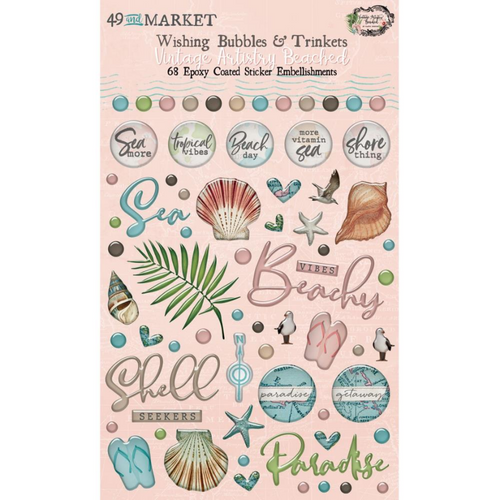 49 and Market Vintage Artistry Wishing Bubbles & Trinkets Epoxy Coated Stickers: Beached