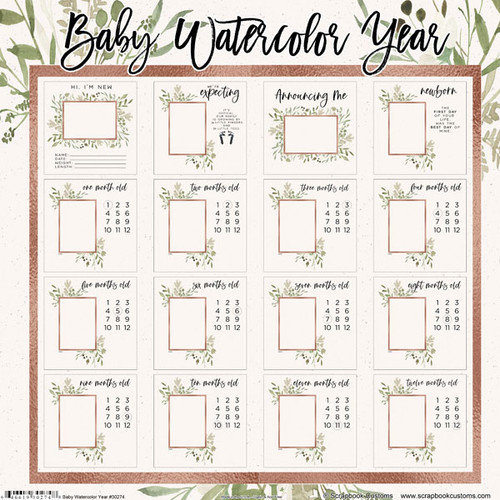 Scrapbook Customs 12x12 Family Themed Collection Pack: Baby Watercolor   Year