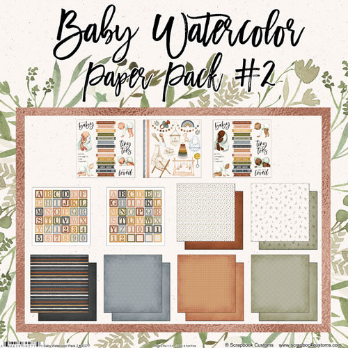 Scrapbook Customs 12x12 Family Themed Collection Pack: Baby Watercolor   Paper Pack #2