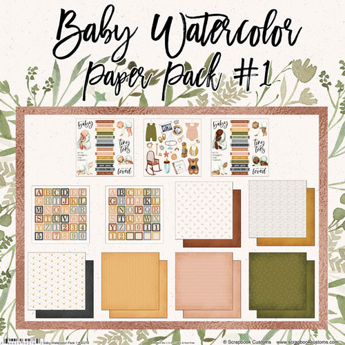Scrapbook Customs 12x12 Family Themed Collection Pack: Baby Watercolor | Paper Pack #1