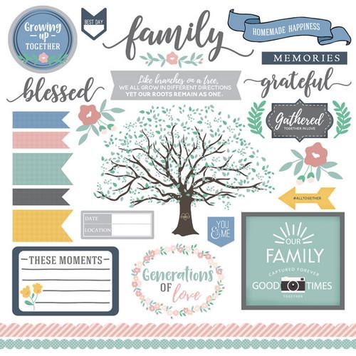 Scrapbook Customs 12x12 Family Sticker: Family Elements