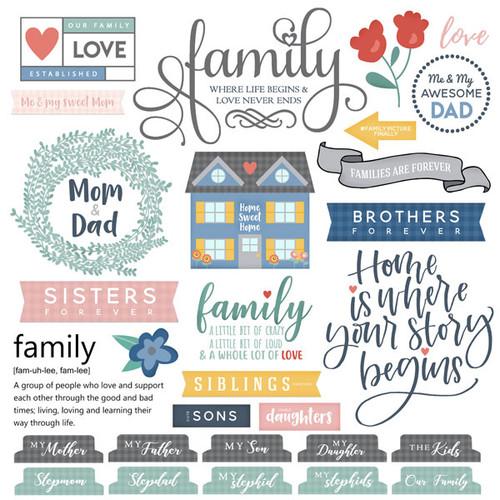 Scrapbook Customs 12x12 Family Sticker: Family Sayings