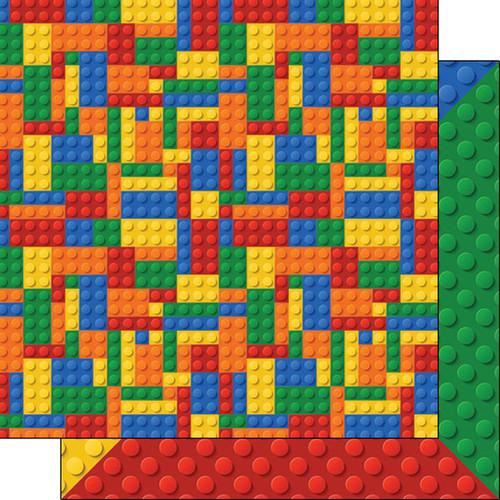 Scrapbook Customs 12x12 Family Themed Paper: Multi-Color Building Blocks