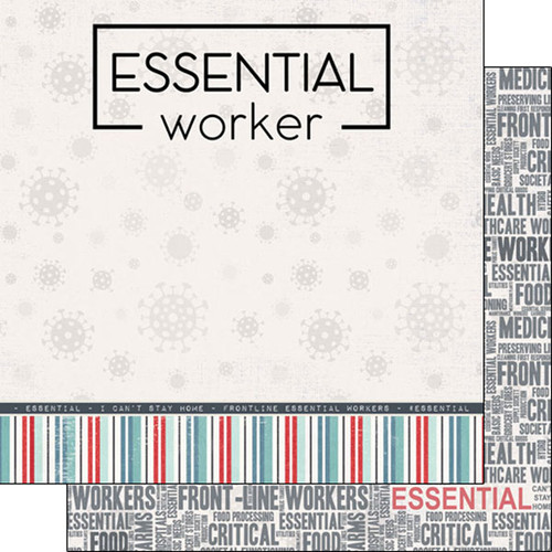 Scrapbook Customs 12x12 Covid-19 Themed Paper: Essential Worker