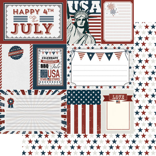 Scrapbook Customs 12x12 Holiday Themed Paper: 4th of July Vintage