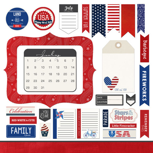 Scrapbook Customs 12x12 Holiday Sticker: July Memory Elements