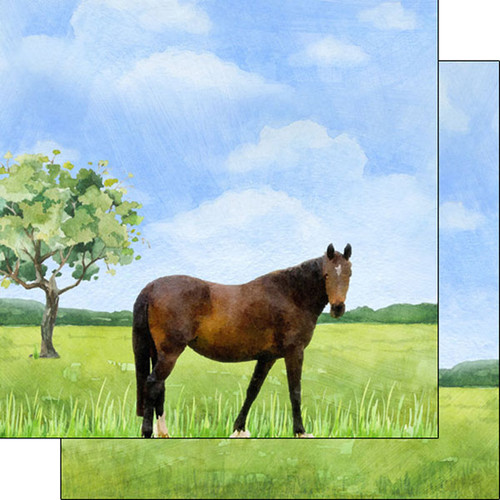 Scrapbook Customs 12x12 Farm Themed Paper: Horse Watercolor