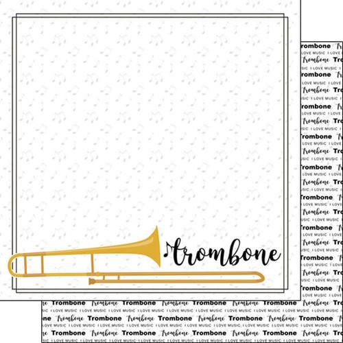 Scrapbook Customs 12x12 School Themed Paper: Trombone Notes