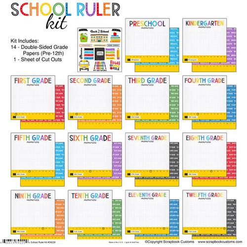 Scrapbook Customs 12x12 School Themed Collection Pack: School Ruler