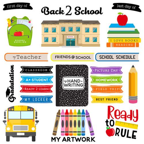 Scrapbook Customs 12x12 School Themed Paper: School Ruler Cutout Sheet