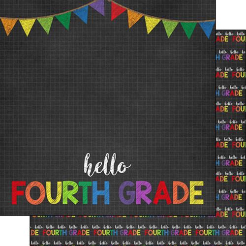 Scrapbook Customs 12x12 School Themed Paper: Hello Fourth Grade