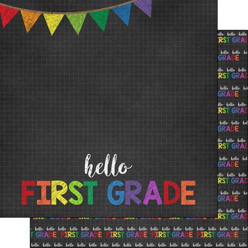 Scrapbook Customs 12x12 School Themed Paper: Hello First Grade
