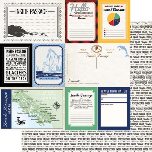 Scrapbook Customs 12x12 Travel Themed Paper: Inside Passage Journal