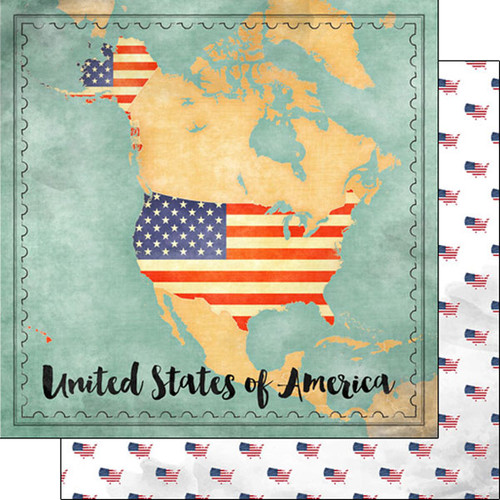 Scrapbook Customs 12x12 Travel Themed Paper: USA Map Sights