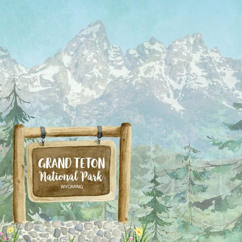 Scrapbook Customs 12x12 Travel Themed Paper: Grand Teton National Park Watercolor