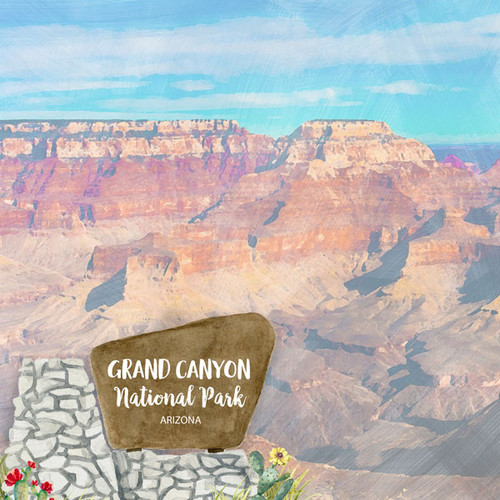 Scrapbook Customs 12x12 Travel Themed Paper: Grand Canyon National Park Watercolor