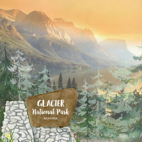 Scrapbook Customs 12x12 Travel Themed Paper: Glacier National Park Watercolor