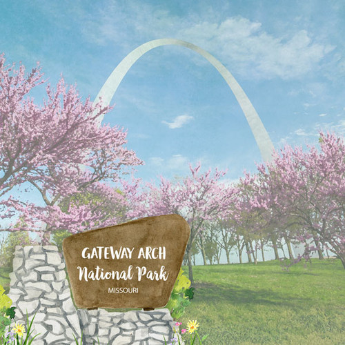 Scrapbook Customs 12x12 Travel Themed Paper: Gateway Arch National Park Watercolor
