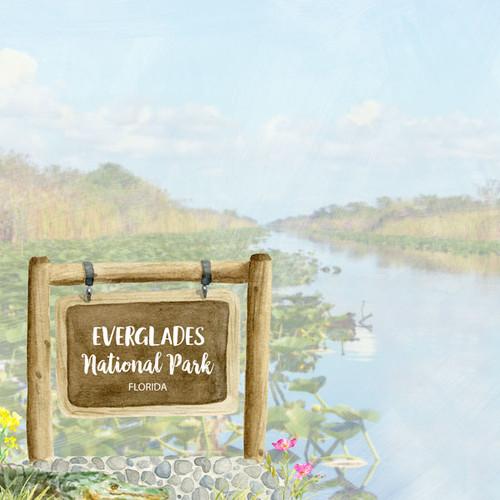 Scrapbook Customs 12x12 Travel Themed Paper: Everglades National Park Watercolor