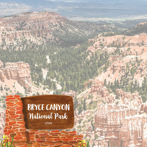 Scrapbook Customs 12x12 Travel Themed Paper: Bryce Canyon National Park Watercolor