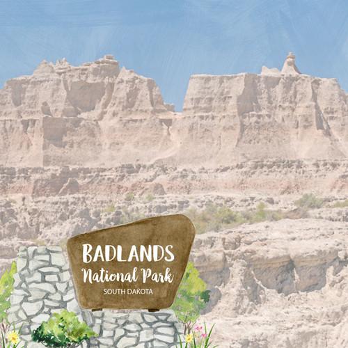 Scrapbook Customs 12x12 Travel Themed Paper: Badlands National Park Watercolor
