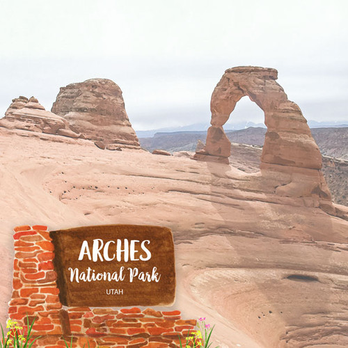 Scrapbook Customs 12x12 Travel Themed Paper: Arches National Park Watercolor