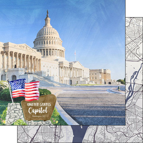 Scrapbook Customs 12x12 Travel Themed Paper: Washing DC - US Capitol