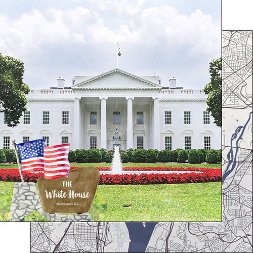 Scrapbook Customs 12x12 Travel Themed Paper: Washing DC - The White House
