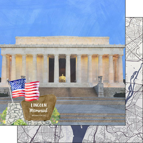Scrapbook Customs 12x12 Travel Themed Paper: Washing DC - Lincoln Memorial